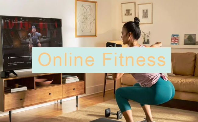 a woman working out with an online fitness program